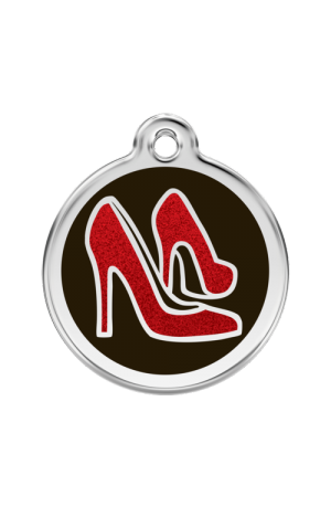 Black Glitter Red Shoe Pet Tag