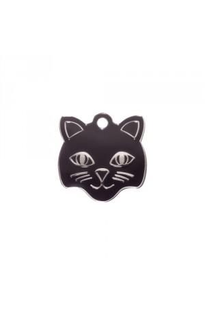 Black Cat Face Pet Tag