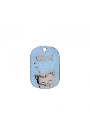 Light Blue Sparkle Sleeping Cat Pet Tag