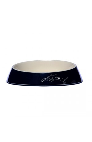 Rogz Melamine Fishcake Bowl - Black Jumping Cat
