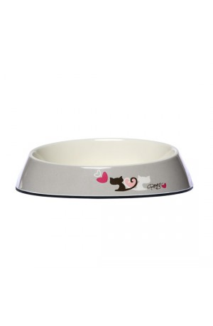 Rogz Melamine Fishcake Bowl - Grey Heart Tails