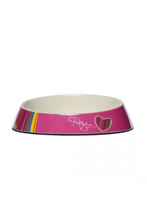 Rogz Melamine Fishcake Bowl - Pink Candystripes