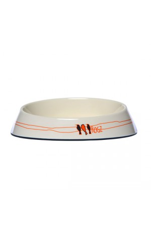 Rogz Melamine Fishcake Bowl - Ivory Birds On Wire