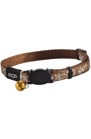 Rogz Silky Cat Collar 11mm - Bronze Filigree