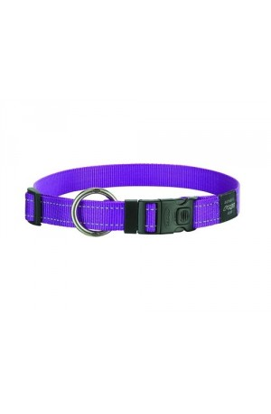 Rogz Utility Reflective Stitching Dog Collar - Purple