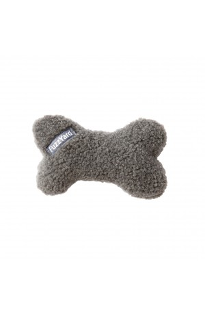 FuzzYard Plush Bone Dog Toy Grey