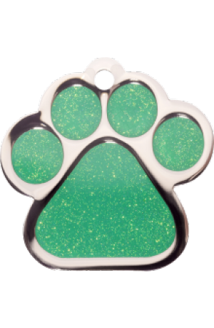 Green Sparkle Paw Print Large