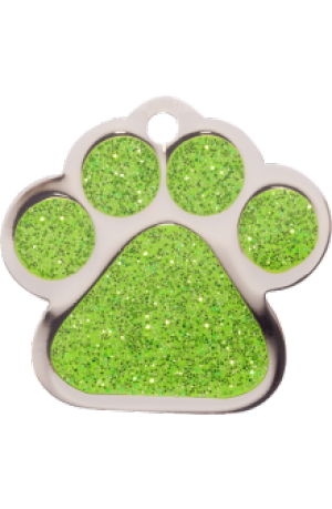 Green Sparkle Paw Print Small