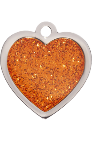 Orange Sparkle Heart Small