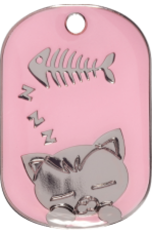 Pink Sleeping Cat Tag Small