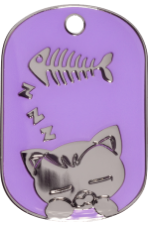Purple Sleeping Cat Tag Small