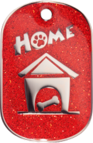 Red Sparkle Home Tag Large