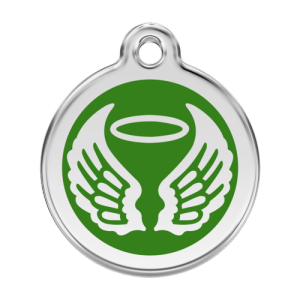 Green Angel Wings Pet Tag