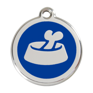 Dark Blue Bone in Bowl Pet Tag