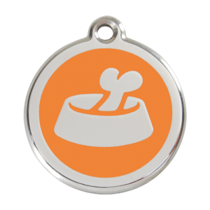 Orange Bone in Bowl Pet Tag