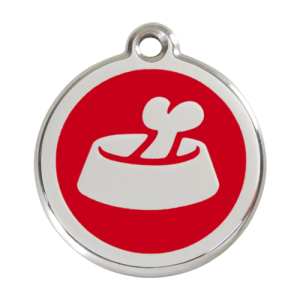 Red Bone in Bowl Pet Tag