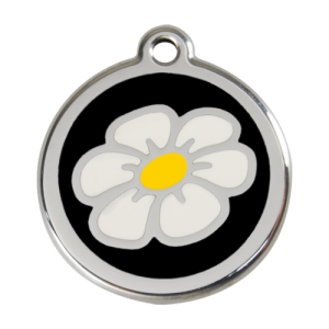 Black Daisy Pet Tag