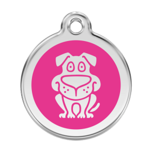 Hot Pink Dog Pet Tag