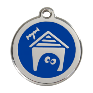 Dark Blue Dog House Pet Tag