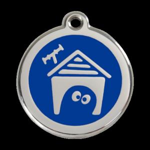 Dark Blue Dog House Pet Tag