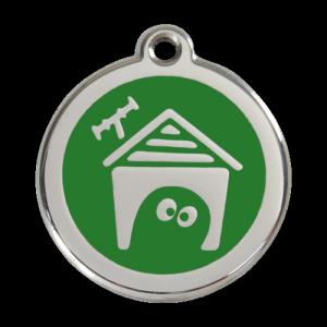 Green Dog House Pet Tag