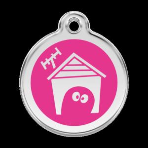 Hot Pink Dog House Pet Tag