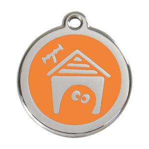 Orange Dog House Pet Tag