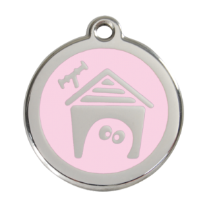 Pink Dog House Pet Tag