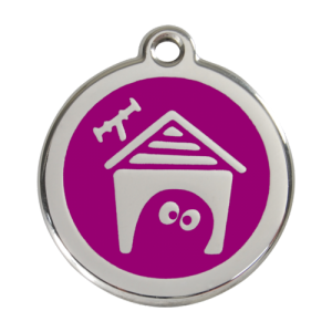 Purple Dog House Pet Tag