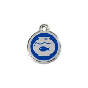 Dark Blue Fish Bowl Pet Tag