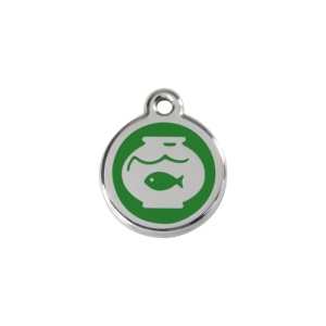 Green Fish Bowl Pet Tag
