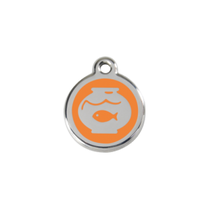 Orange Fish Bowl Pet Tag