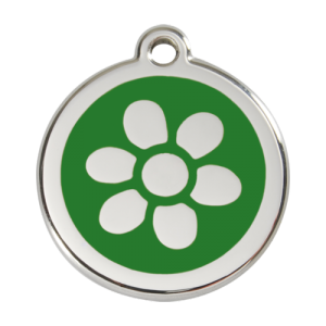 Green Flower Pet Tag