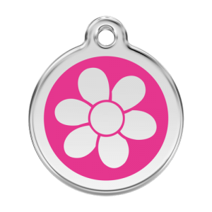 Hot Pink Flower Pet Tag