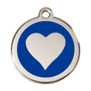 Dark Blue Heart Pet Tag