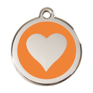 Orange Heart Pet Tag