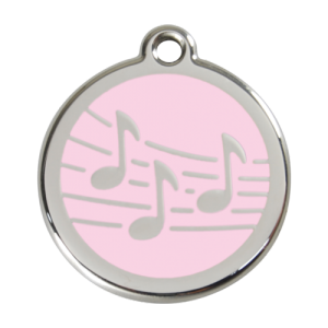 Pink Music Pet Tag