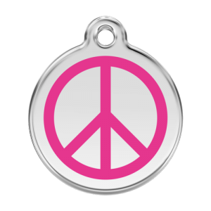 Hot Pink Peace Pet Tag