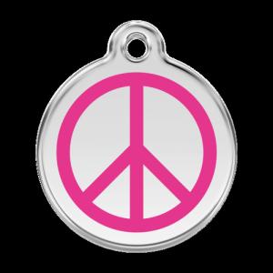 Hot Pink Peace Pet Tag