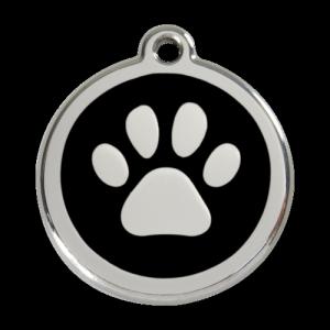Black Pawprint Pet Tag