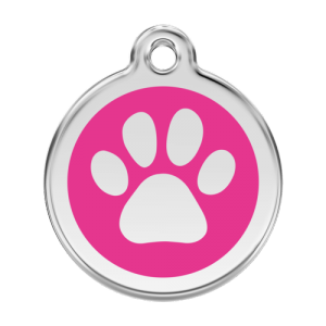 Hot Pink Pawprint Pet Tag