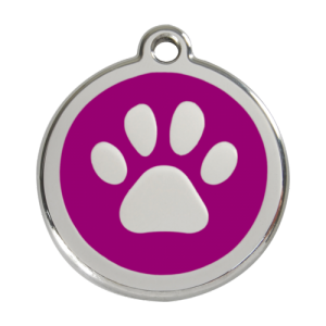 Purple Pawprint Pet Tag