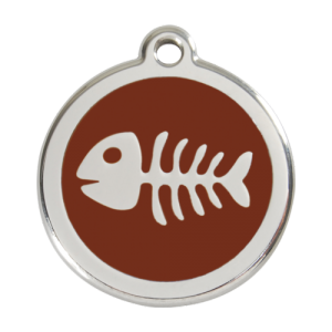 Brown Fish Skeleton Pet Tag