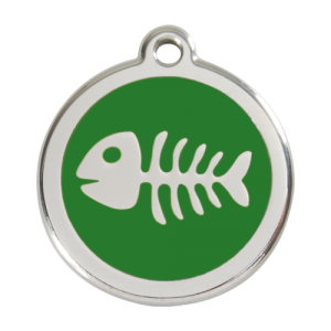 Green Fish Skeleton Pet Tag