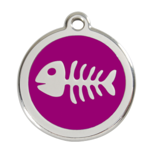 Purple Fish Skeleton Pet Tag