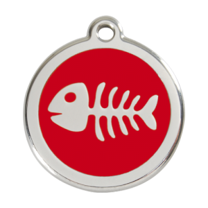 Red Fish Skeleton Pet Tag