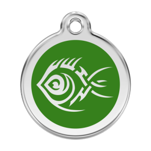 Green Tribal Fish Pet Tag