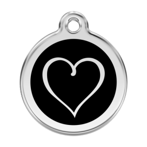 Black Tribal Heart Pet Tag