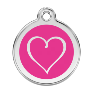 Hot Pink Tribal Heart Pet Tag