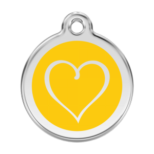 Yellow Tribal Heart Pet Tag